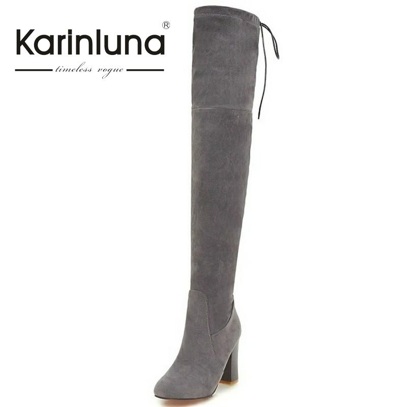 Big Size 34-43 Sexy Thigh High Boots For Women Velvet Winter Shoes Lace Up Over The Knee Boots Woman High Thick Heel plus size 34 43 sexy lace up thick high heels over the knee boots shoes woman fashion platform mature winter thigh high boots