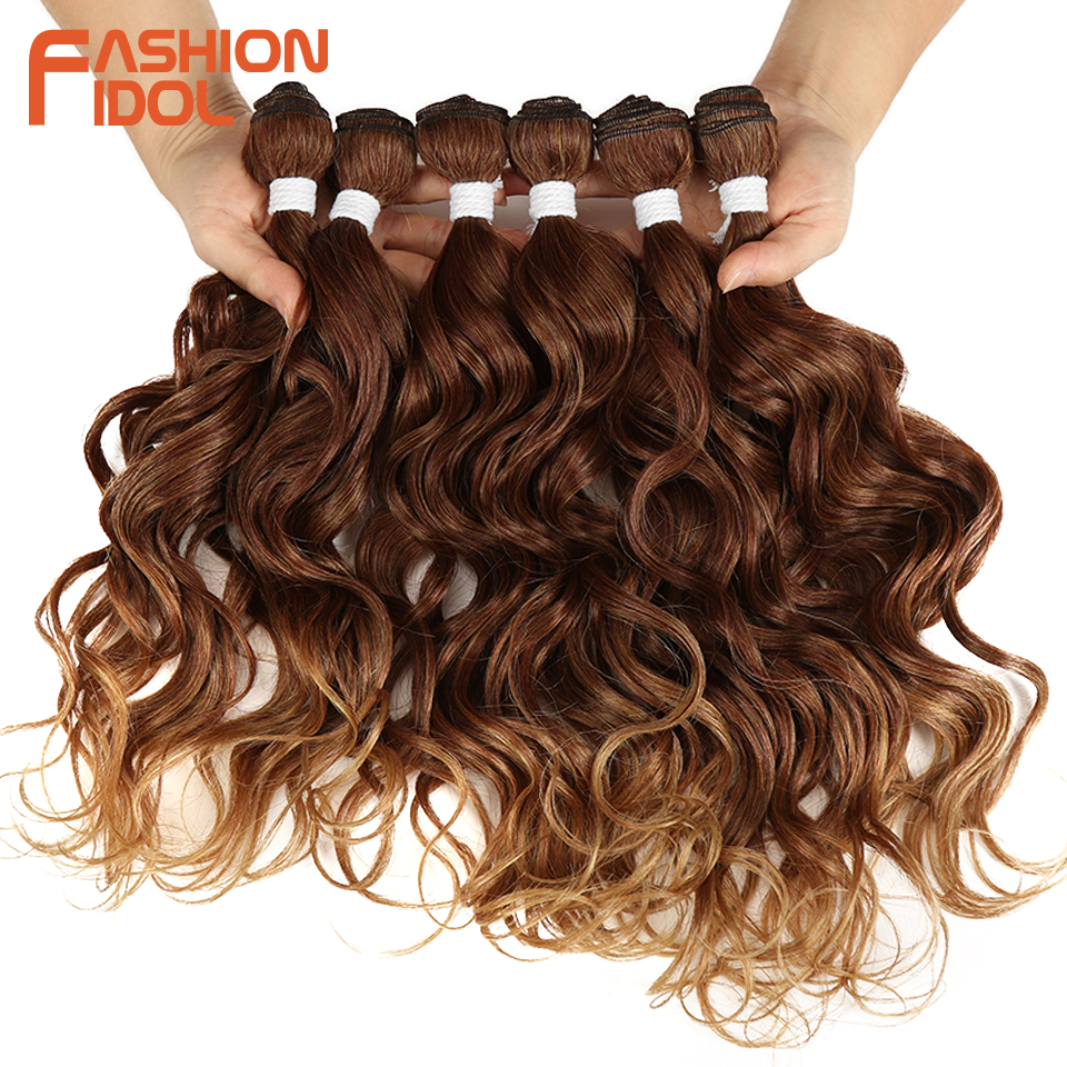 FASHION IDOL Deep Wave Brazilian Hair Weave Bundles Ombre Brown 6Pieces 16-20