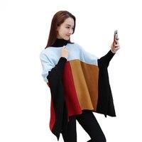 Women S Sweater Autumn Turtleneck Knitted Pullover Cloak Jersey Patchwork Tunic Korean Fashion Big Sizes Elegant