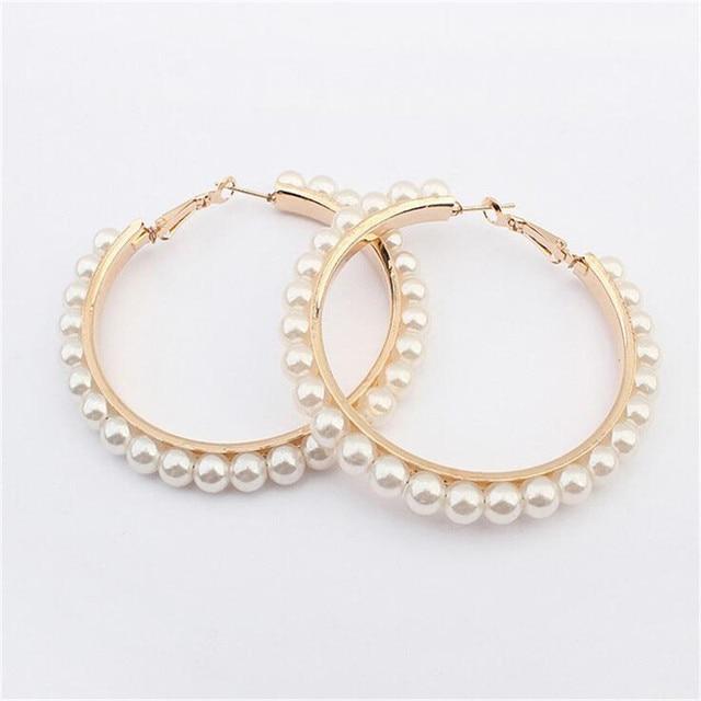 New Round Pearls Hoop Earrings For Women White Earring Hoops Black