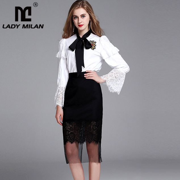 2018 Spring Womens Sash Bow Collar Long Sleeves Ruffles White Shirts with Lace Patchwork Pencil Skirts Elegant Work Dress Sets
