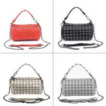 2017 New Design Fashion Ladies Bags Messenger PU Leather Bucket Rivet Chain Tote Bag Handbag FA$B