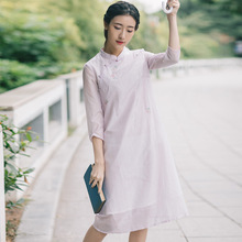 2019 Spring Autumn Embroidery Half Sleeve Dress Retro Vintage Women Silk with Cotton Lining