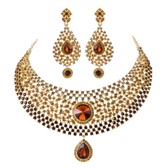 Wedding Jewelry Sets Hot Sale Brown Crystal Rhinestone India Style Bridal Necklace Earrings Dinner Statement