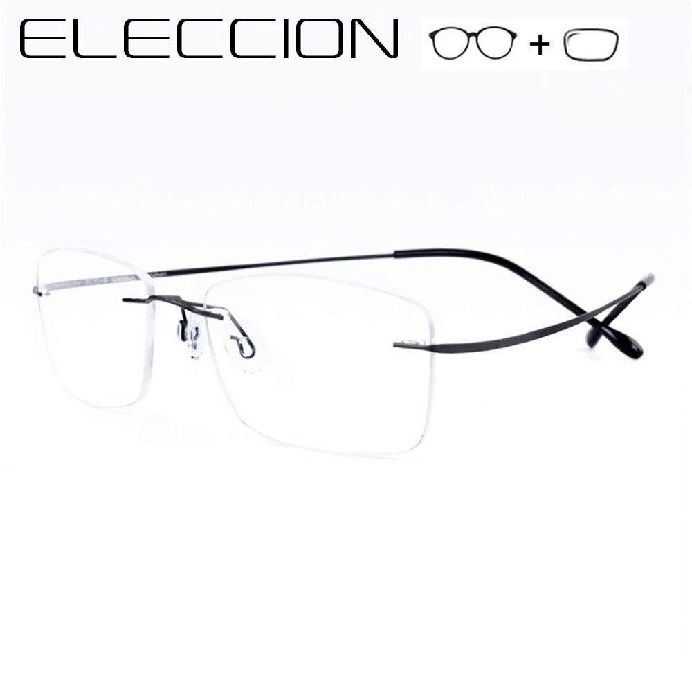ELECCION sans monture Prescription lunettes hommes mémoire métal cadres optiques myopie lunettes femmes mode sans vis lunettes femme
