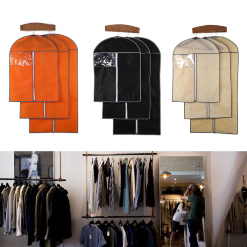 3 Size Top Quality Suit Cover Skirt Dress Garment Coat Clothes Shirt Travel Carrier Non-woven Fabric Clothing Covers Black Beige
