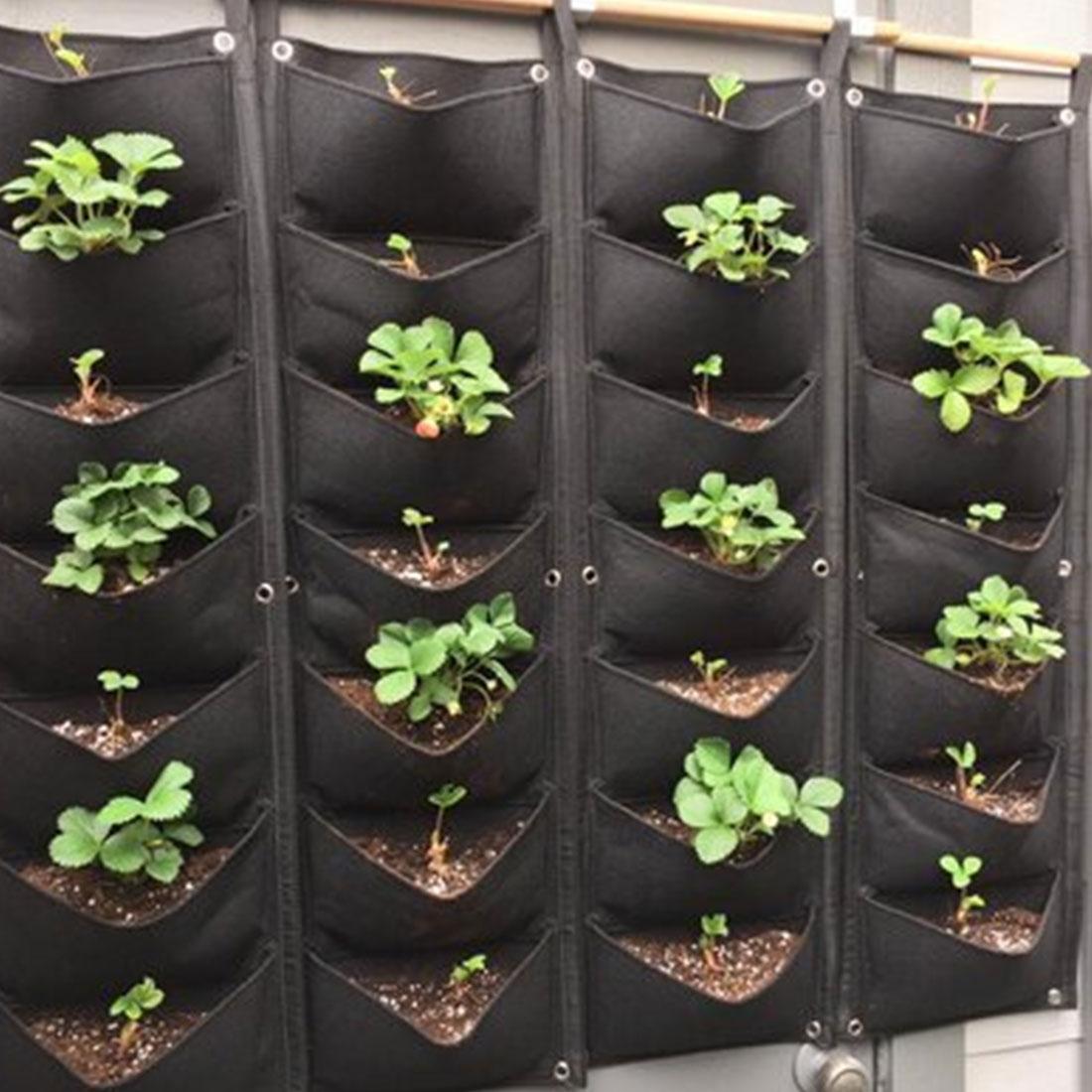 Grow Bag Vegetable Plant Wall Hanging Vertical Gardening Pockets Black Felt Fabric Pots Garden Supplies