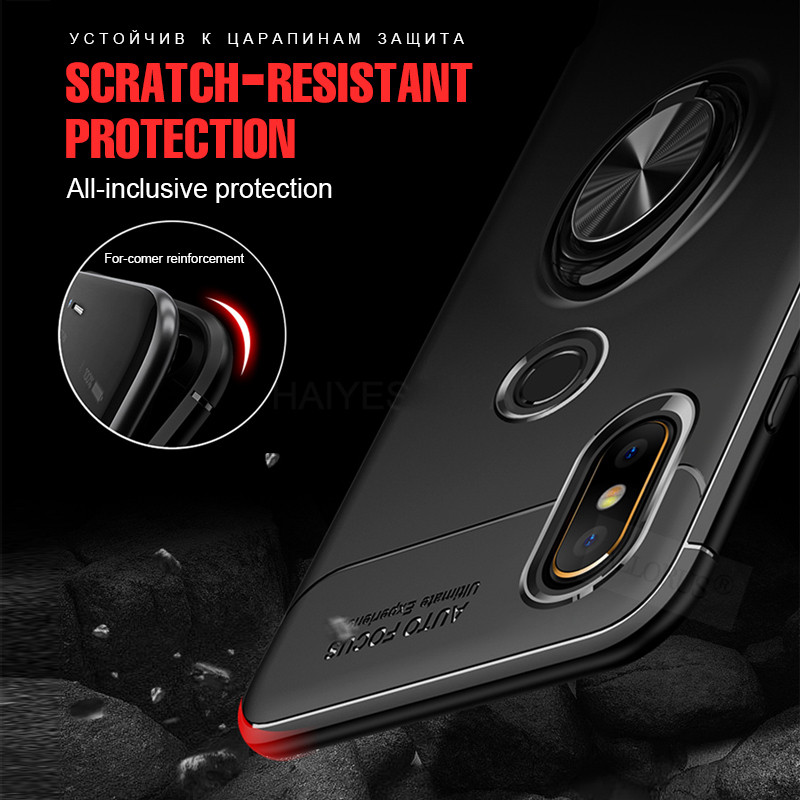 ALLORUS Magnetic Case Redmi Note 5 Note 7 Pro Cover Silicone Car Phone Holder Ring Case Redmi Note 5 Shockproof Kickstand Cover in Fitted Cases from Cellphones Telecommunications