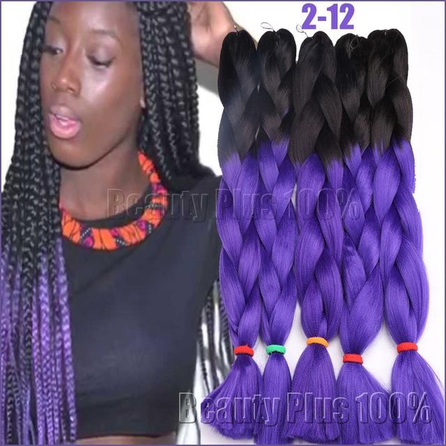 Ombre Purplebox Braids Hair Synthetic Purple Crochet Braid Hair 100g
