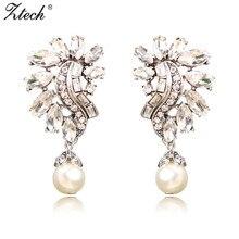 Ztech Vintage Elegant Luxury Beautiful Earrings Fashion Simulated-pearl Geometric Earrings For Women Charm Jewelry