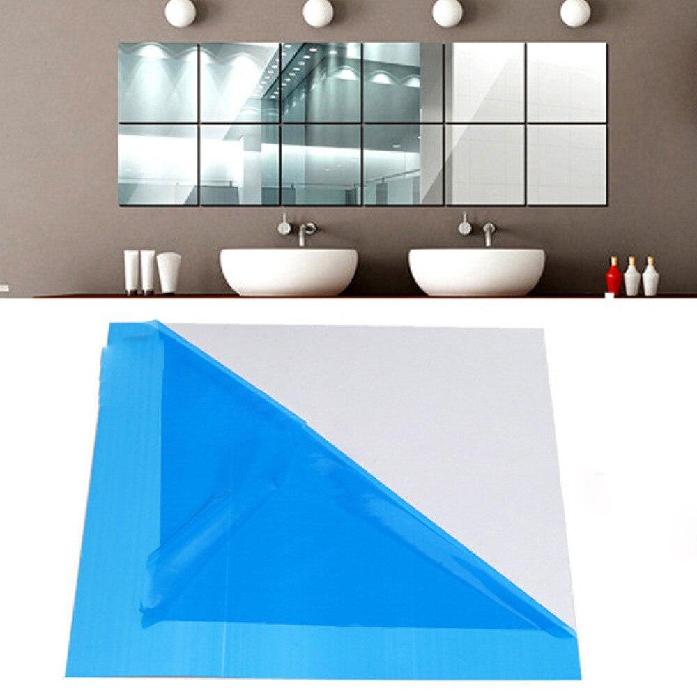 16X מראה מדבקות אריח כיכר עצמי דבק אמבטיה מקל על מודרני אמנות קיר מדבקה