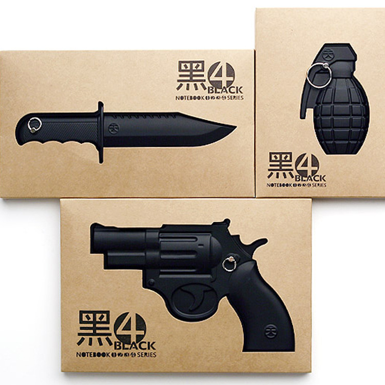Notebook black 4 retro weapon notebook hunting knife grenade modelling individuality office culture and education