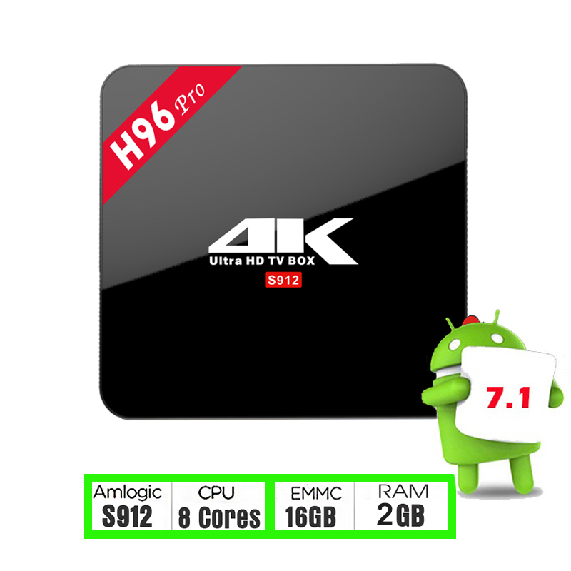 IPTV TV BOX H96 Pro 2G/16G Amlogic S912 Octa core Android 7.1 2.4G/5.8G WiFi H.265 4K Media Player H96 Pro Ship from Spain
