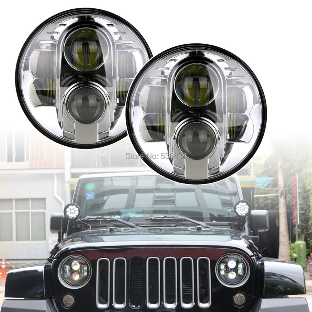 1 Pair 7inch LED Round Projector Daymaker Headlights For 2007-2016 Jeep Wrangler Unlimited JKU 4 Door taillight light guard cover for 2007 2017 jeep wrangler accessories jk unlimited pair