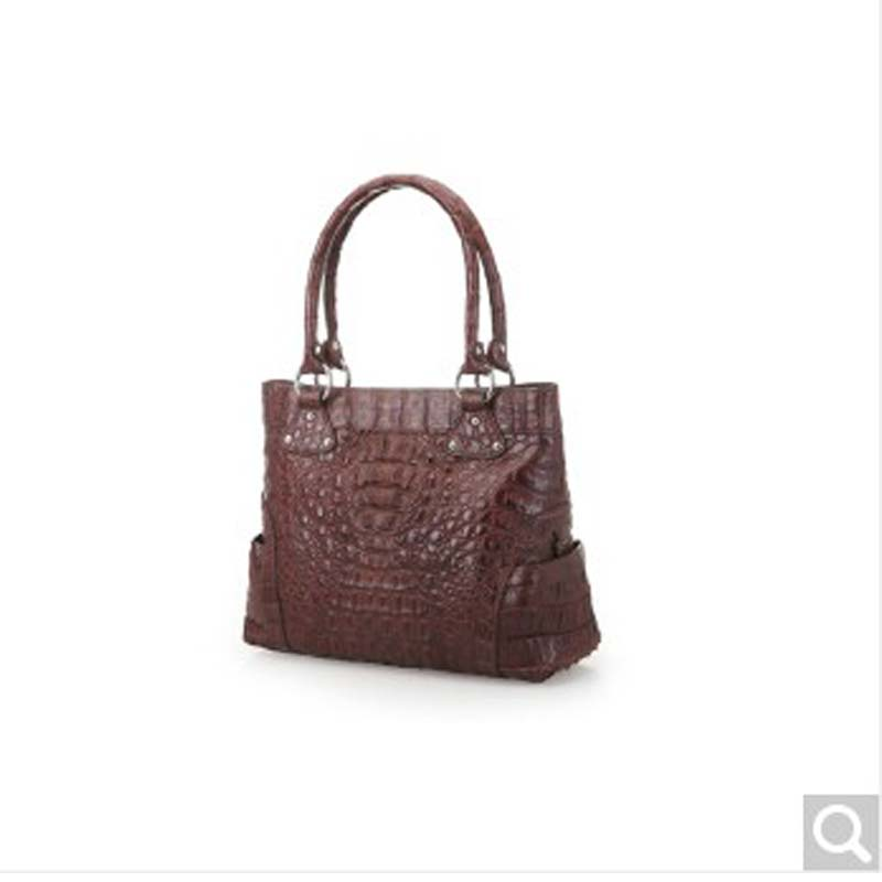 River Thai Crocodile Skin Lady Women Handbag Alligator Leather Head Full Caiman In Shoulder Bags From Luggage On