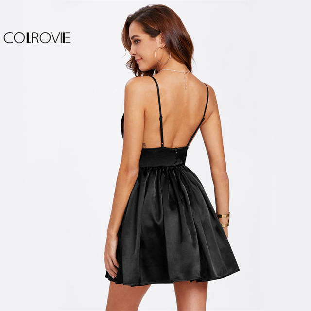 1b05cffde0 placeholder COLROVIE Black Bustier Satin Cami Dress Sexy Party Women  Backless Empire A Line Dresses Deep V