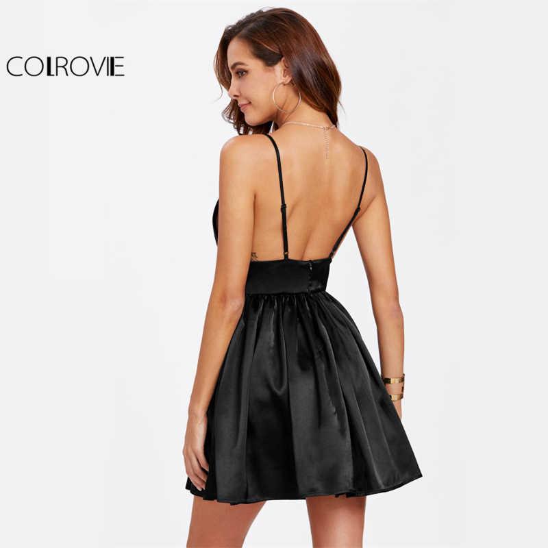 COLROVIE/черное атласное платье-бюстье на бретельках, сексуальные вечерние женские платья с открытой спиной, трапециевидные платья с глубоким v-образным вырезом, на молнии сзади, приталенное платье