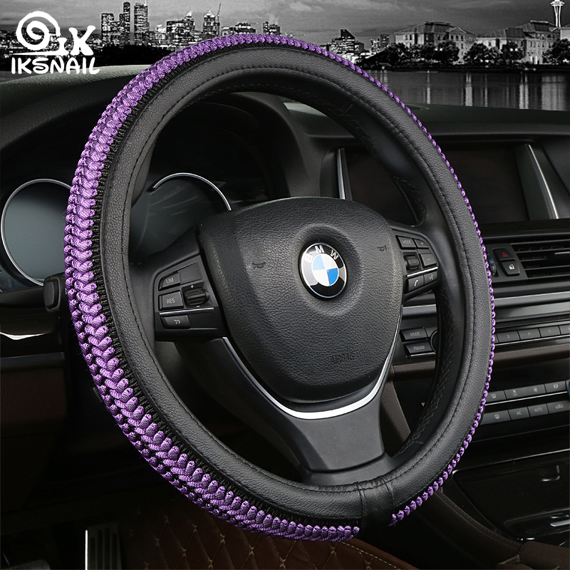 IKSNAIL Steering-Wheel Design Accessory Car Auto Steering Wheel Covers EVA Punching Universal Car Skidproof Steering Wheel Cover image