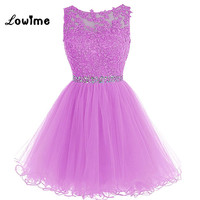 Nice Lavender Short Homecoming Dresses Sexy Keyhole Back Applique Crystal Prom Dress Vestido De Formatura Curto