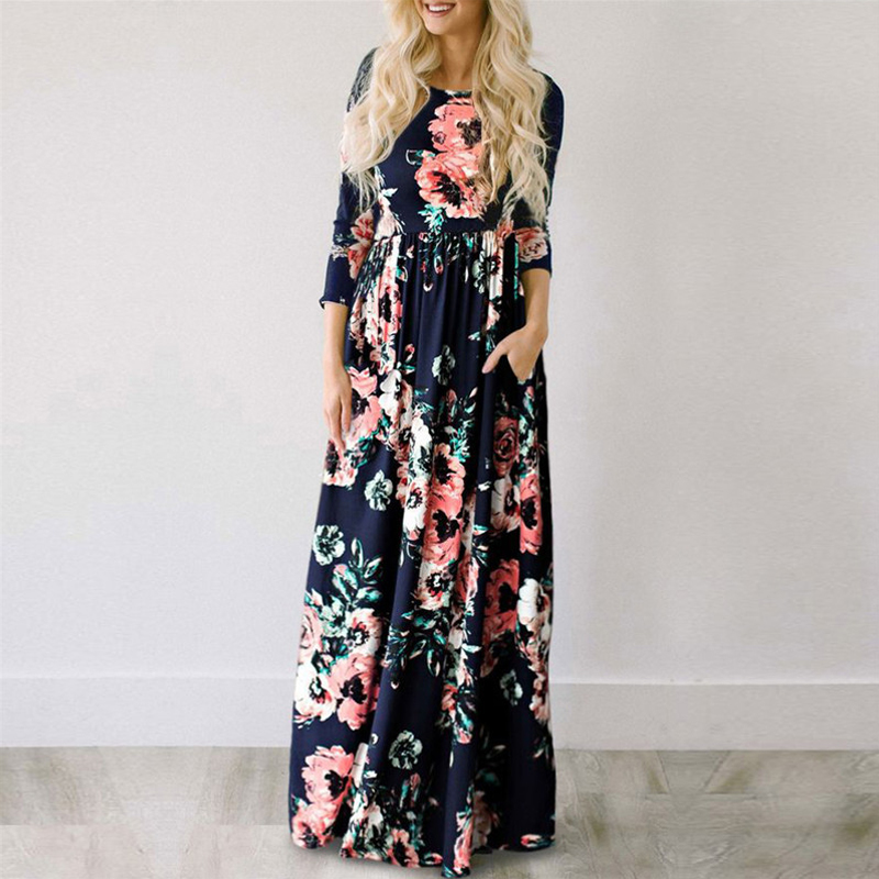 Mulheres verão vestido longo 2019 floral impressão boho vestido de praia senhoras branco maxi vestido de festa de noite vestidos de festa 3xl