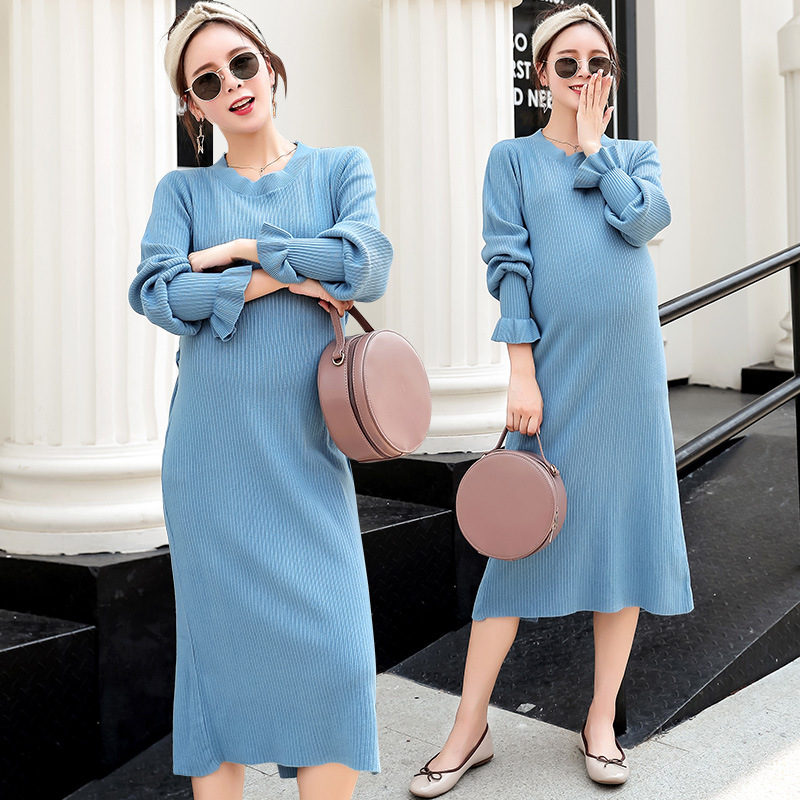 Autumn Winter Women Knit Dress Slim Package Pregnant Knitted Dresses Vestidos Fashion Maternity Dress H281 artsu casual bodycon knitted dress slim long sleeve sexy split button midi dresses women autumn winter party vestidos asdr30434