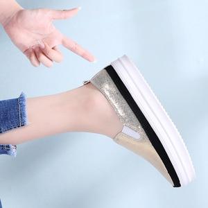 Image 3 - TKN 2019 סתיו נשים דירות נעלי גבירותיי פלטפורמת להחליק על נעלי עור עבה סוליות Tenis Feminino סניקרס Creeper אישה 8835