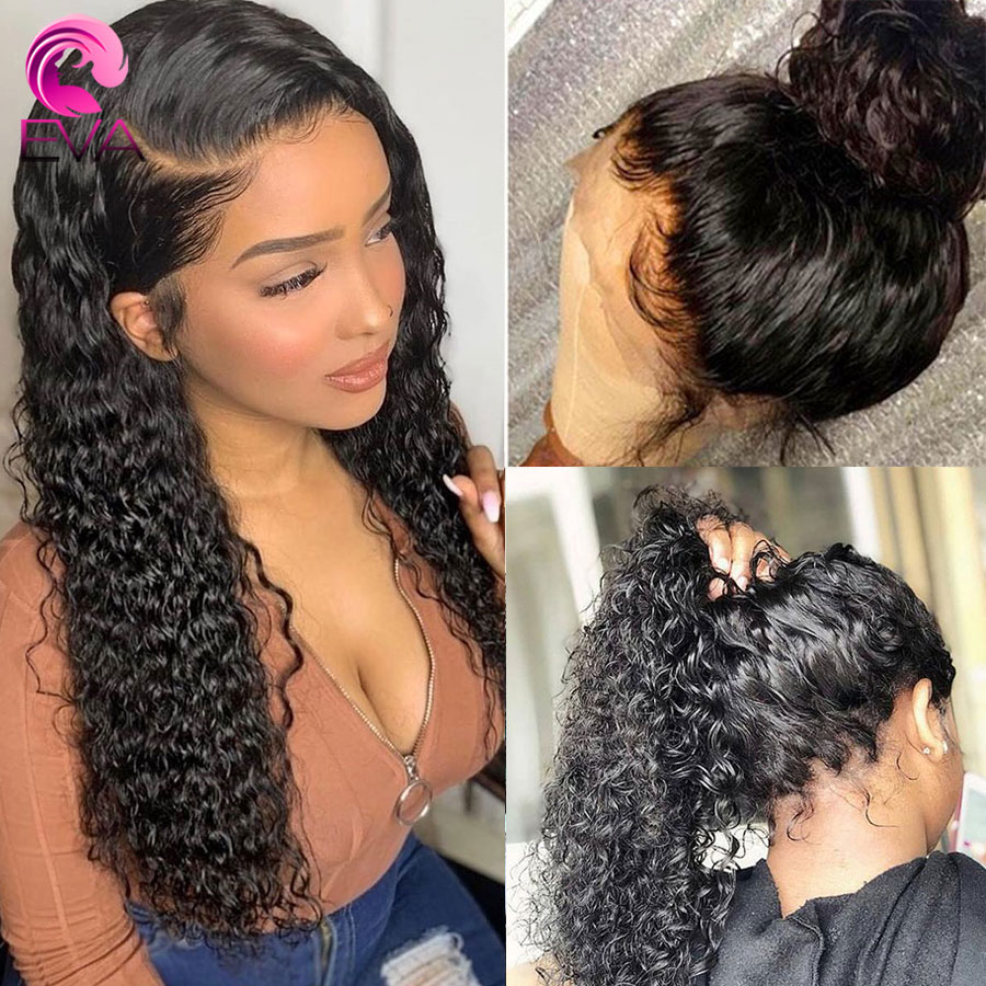 Eva 13x6 Lace Front Wig Pre Plucked With Baby Hair Bleached Knots Glueless Brazilian Remy Curly Human Hair Wigs For Black Women
