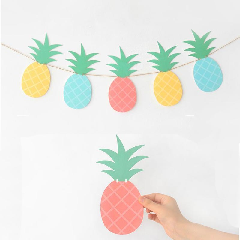 MEIDDING 12Pcs/Set Hawaiia Party Decoration Pineapple Garland Paper Banners Summer Pool Fruit Theme Baby Birthday Party Supplies