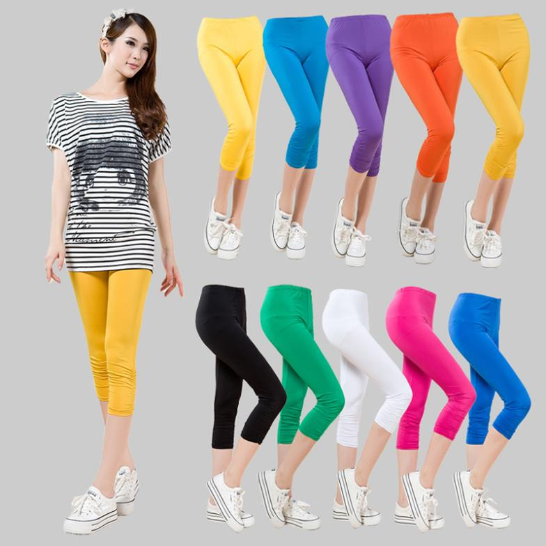 Korean New Spring Summer 2016 Plus Size Candy-colored Silk Cotton Cropped   Capris   Women   Pants   Elastic   Pant   Fashion Leggings 4XL
