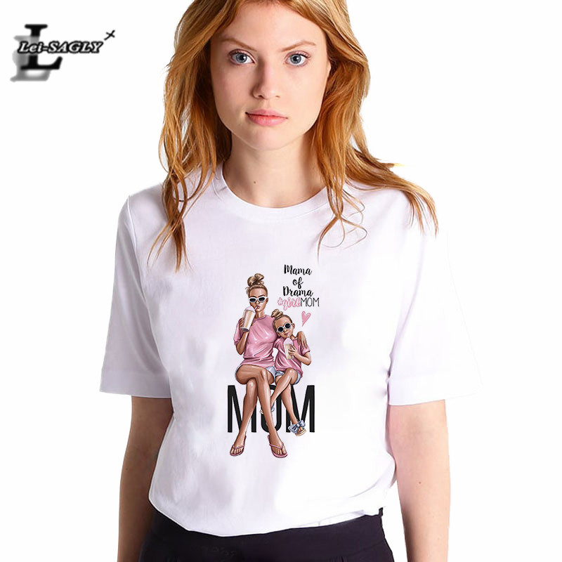 Lei SAGLY Super Mom Female T Shirt Summer Women 2019 Mama Of Drama Girl Mom Korean Style Shirt White Casual Vogue T-Shirts