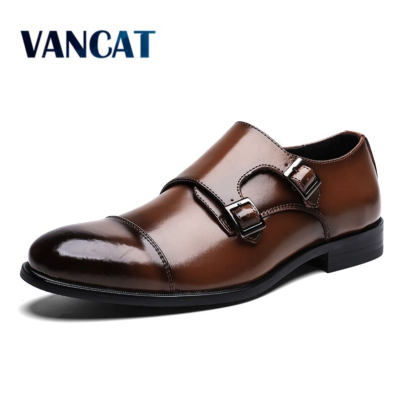 Brand Genuine Leather Men Oxford Shoes Pointed Toe Men Dress Shoes With Double Buckle Male Wedding Shoes Handmade Men Shoes