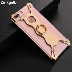 Pour iPhone 7 Plus étui de luxe en aluminium métallique dur cadre de Protection de porte-anneau étui de téléphone antichoc pour iPhone 7 Plus étui de Protection