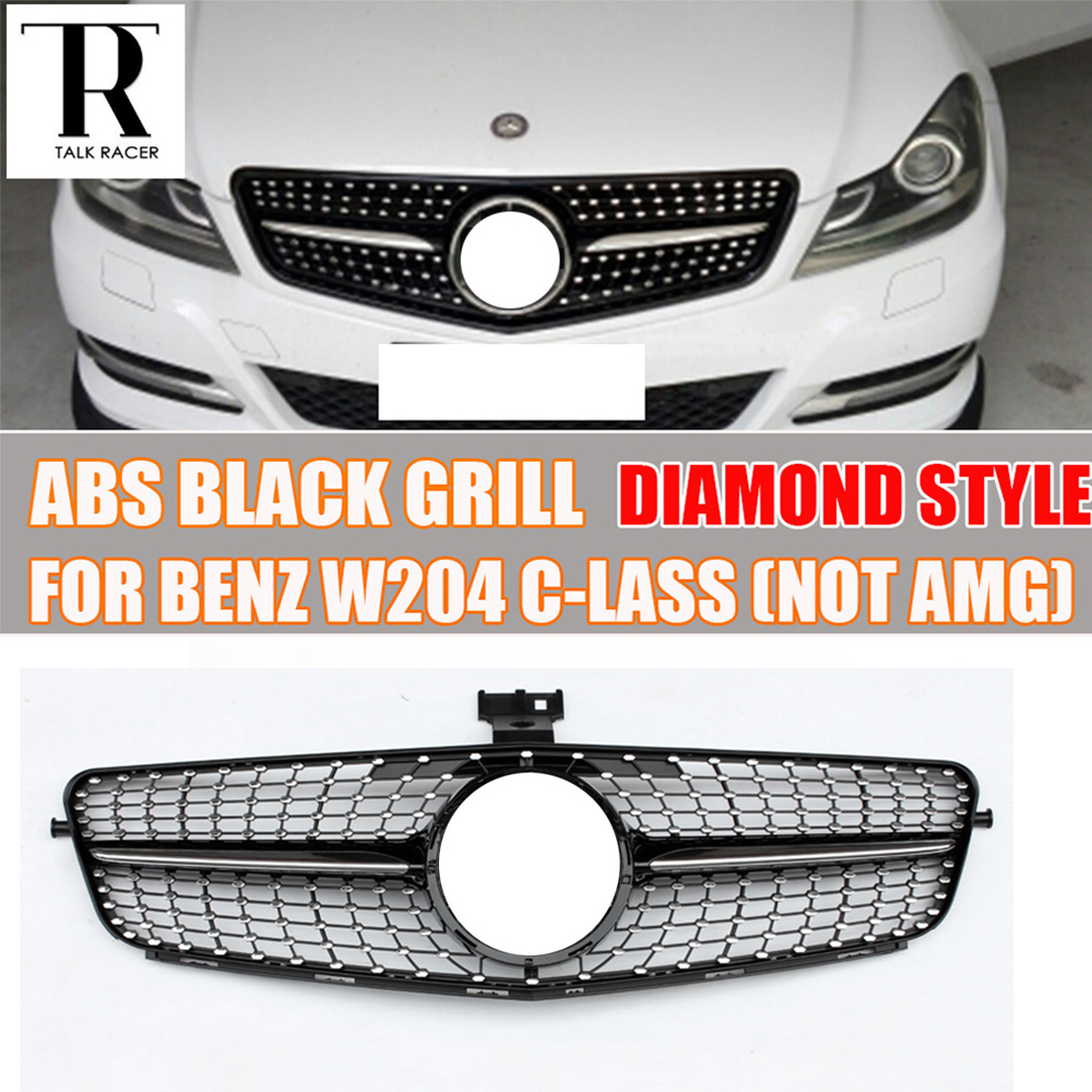 W204 BLACK ABS Diamond Style Front Bumper Grill Grille for Mercedes Benz W204 C CLASS C180 C200 C220 C260 C300 not fit AMG