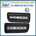 Xenon White LED Car Daytime Running Luz Kit 12 V 5 W * 2 Cr ee Alta potência para BMW E36 M3 (91-98) DRL Daylight Lamp com Acender As Luzes