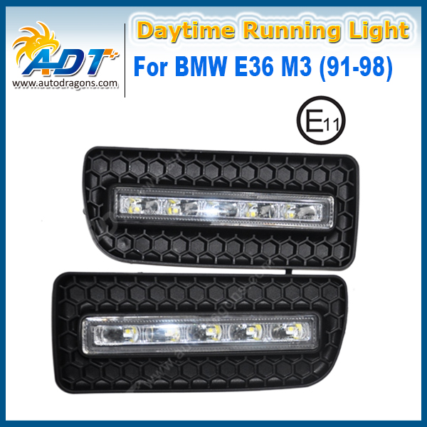 Xenon White <font><b>LED</b></font> Car Daytime Running Light Kit 12V 5W*2 Cr ee High power for <font><b>BMW</b></font> <font><b>E36</b></font> M3(91-98) DRL Daylight Lamp with Turn Lights image