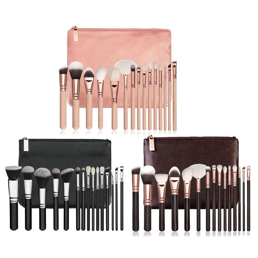 Brand makeup 8 12 15 pieces Black Premium hair Big Powder Foundation blusher eye shadow Contour Makeup brush set Cosmetic Pouch