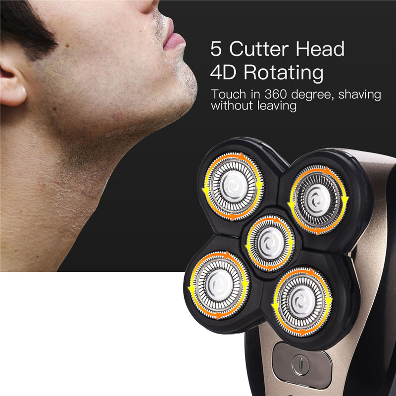 Kemei 5D Floating Heads Electric Razor Washable Beard Trimmer Shavers Multifunction Hair Clipper Rechargeable Shaving Machine