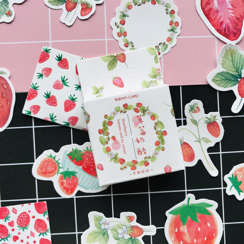 45pcs/pack15 Designs Fresh Strawberry Paper Stickers Notebook Bottle DIY Adhesive Decor Stick Label