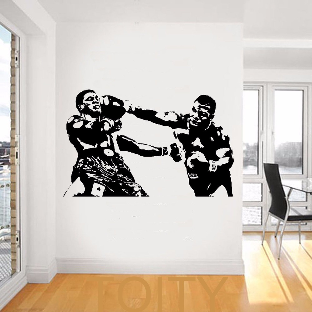 Mike tyson wall decal sport boxing vinyl sticker dorm club for Boxing bedroom ideas