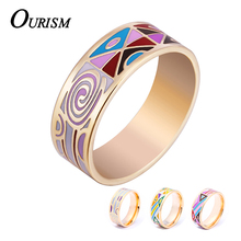 OURISM High Quality 2016 Enamel Rings For Women 18k Gold Plated Stainless Steel Wedding Ceramic Enamel anel Jewelry For Woman