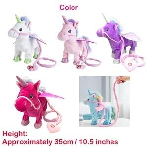 Image 5 - Jeriwell 35cm חשמלי הליכה Unicorn בפלאש מצחיק צעצוע מדבר צעצוע חד קרן שירה מוסיקה ממולא צעצוע לילדים ילדים מתנה