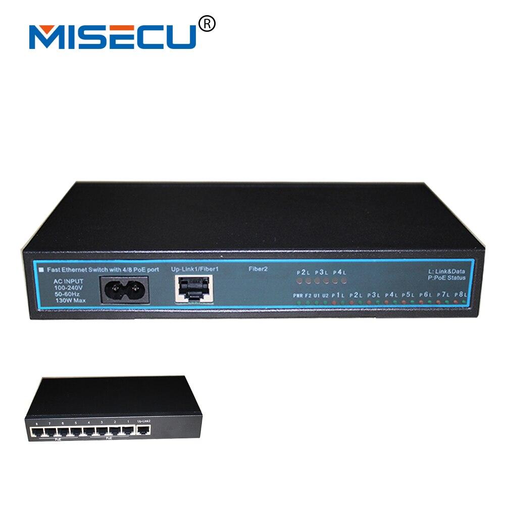 8CH PoE switch Up Link1/Fiber 1 Up Link2 Fiber 2 Onvif Port Fast Ethernet Switch support 100 200V 10/100Mbps network cameras POE
