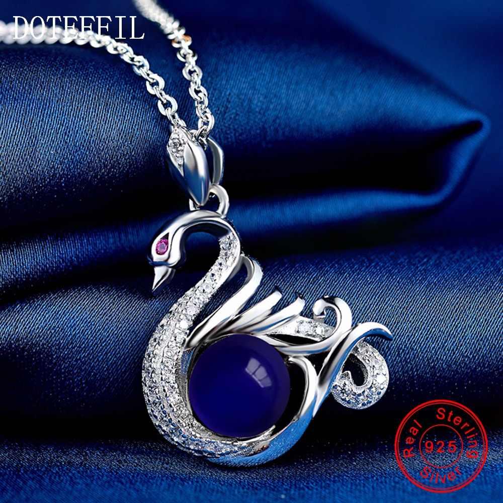 Серебряное ожерелье с лебедем женское очаровательное модное ожерелье с подвеской 925 серебро АААА циркон ожерелье ювелирные изделия