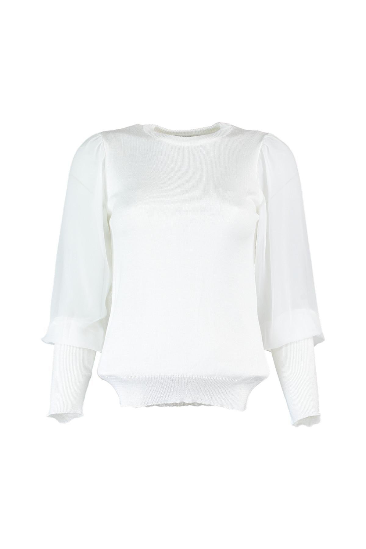Trendyol WOMEN-Ecru Handles Tulle Detailed Knitwear Sweater TWOAW20DU0001