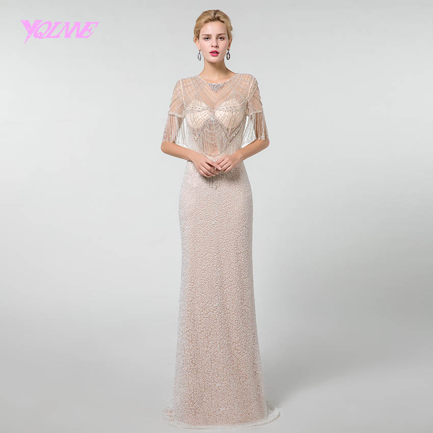 YQLNNE Sexy Long   Prom     Dresses   2019 Rhinestones Beadings Sleeves Formal Gown   Dress   See Through