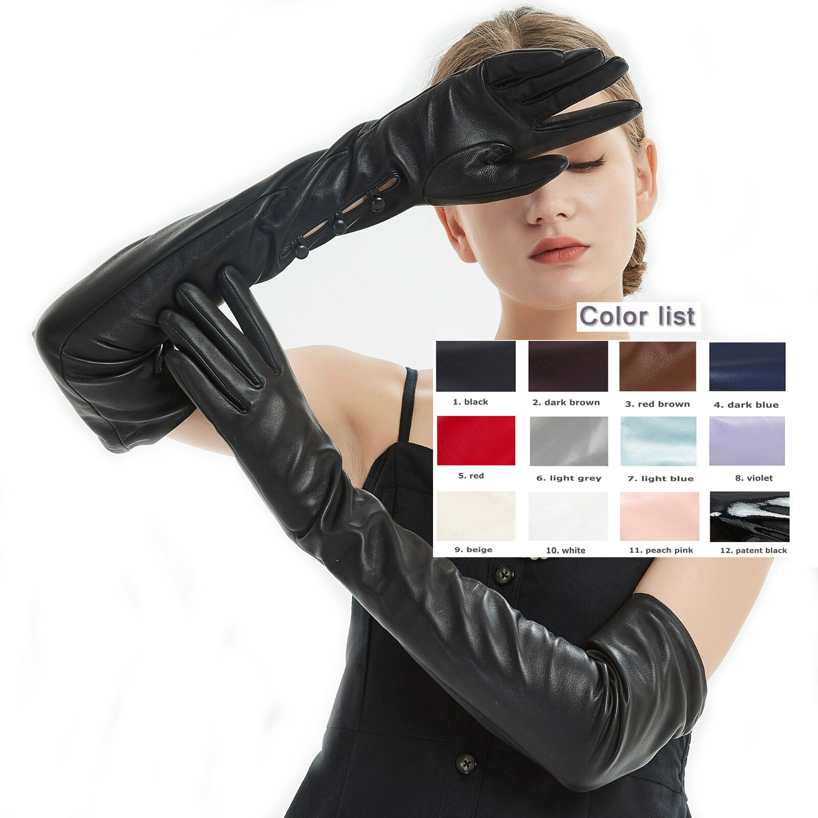 custom made 40cm to 80cm long wrist buttons style 2 real sheep leather evening opera gloves