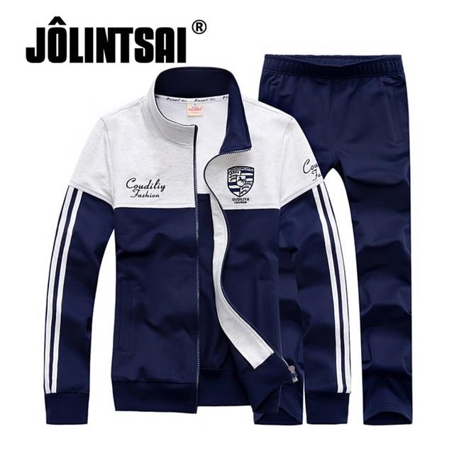 Jolintsai Autumn Tracksuit Men/Women 2017 Sudaderas Hombre Sporting Suit Men Hoodies Patchwork Sweatshirt With Sweatpant Set Men