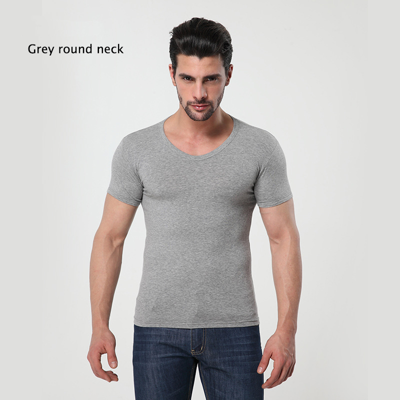 Mens MODAL Solid color underwear clothing close-fitting short sleeve Relax breathable strench O neck undershirts
