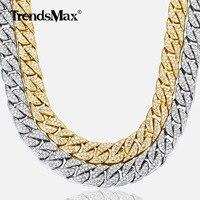 14 мм мужское ожерелье в стиле Майями, кубинская цепь золото серебро, хип-хоп, покрытый стразами, CZ Rapper, Мужская цепочка, ювелирные изделия GN432