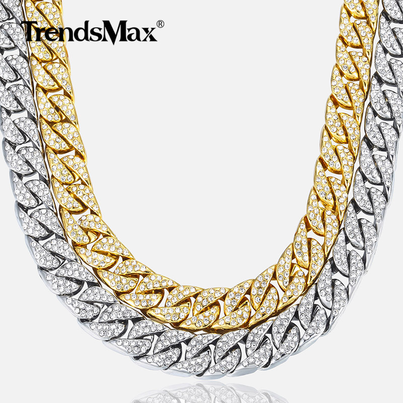1a0becb10 14mm Men's Necklace Miami Curb Cuban Chain Gold Silver Hip Hop Iced Out Paved  Rhinestones CZ Rapper Male Necklace Jewelry GN432